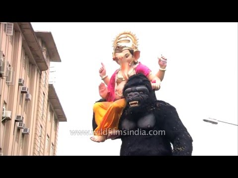 Gorilla carries Lord Ganesh : Ganesh...