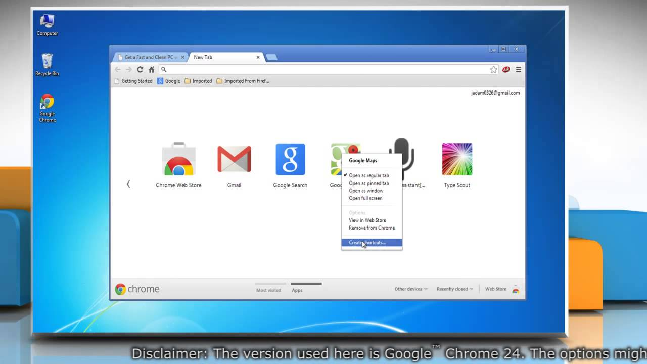 How to create shortcuts for Google™ Chrome apps in Windows® 7