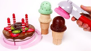 Making Pretend Birthday Cake and Learn Colors with Yummy Ice Cream Cones Playset for Kids