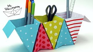 Origami Box falten - Ordnungsbox selber basteln mit Papier