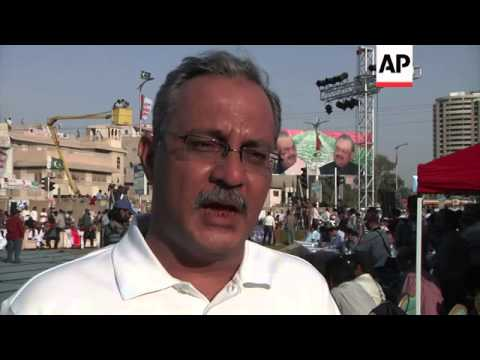 MQM party supporters gather to show support in Pakistan Army
