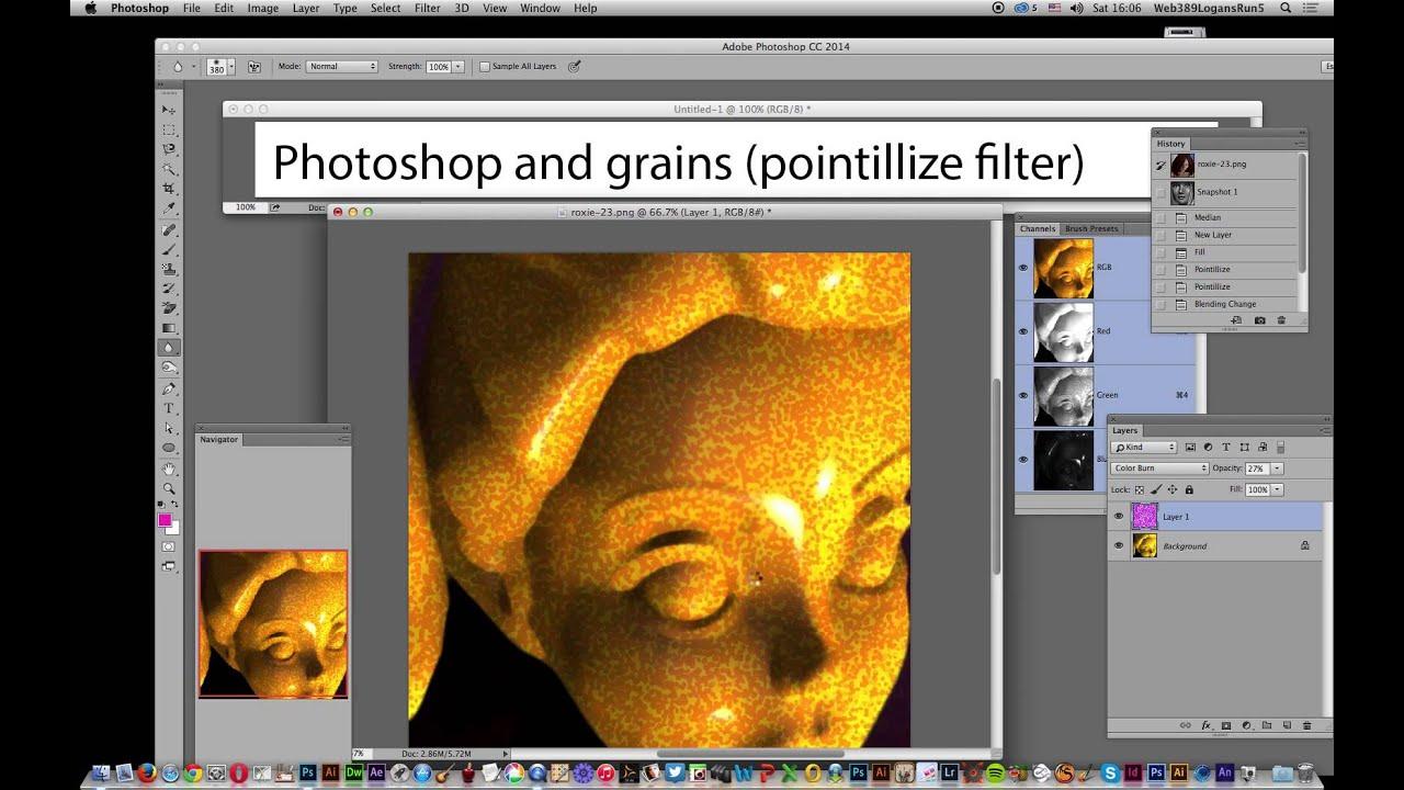 Photoshop CC : Add grain via pointillize filter tutorial
