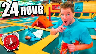 24 Hour Overnight In TRAMPOLINE PARK Challenge! (Sneaking In) 🤫