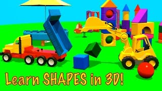 Learn Shapes! 3D Excavator Cartoons for Kids.Kids Construction.Videos for Kids.TRIANGULAR PRISM