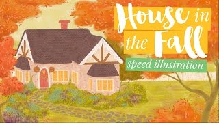 Cozy House In The Fall | Thanksgiving Speed Illustration for Hallmark eCards