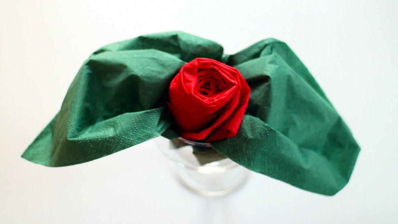 servietten falten 39 rose im glas 39 f r valentinstag. Black Bedroom Furniture Sets. Home Design Ideas