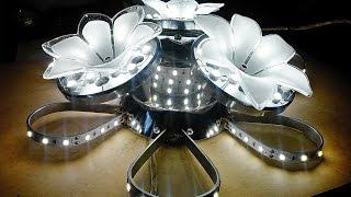 Самодельная светодиодная люстра в домашних условиях, примерно 48 Ватт(Люстра - самопал. Делалась из подручных материалов. Потрачено денег : Блок питания 12В 2А - 160 руб 2 метра..., 2015-02-04T22:54:14.000Z)