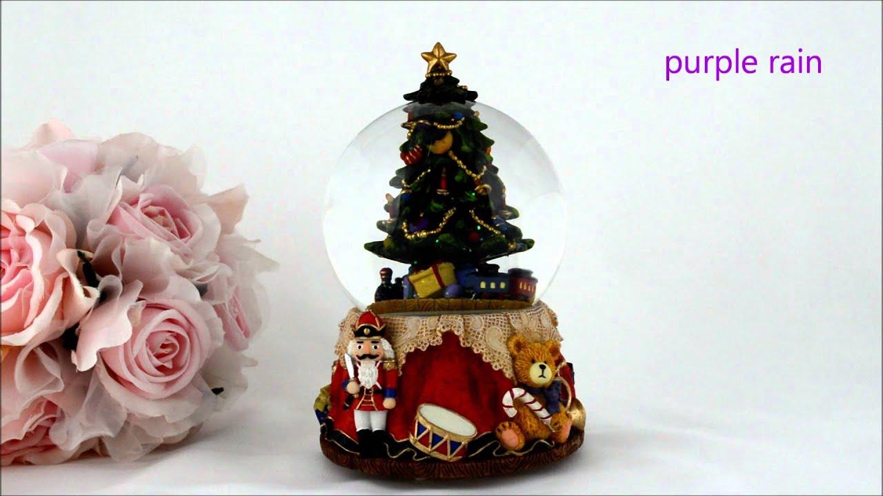 Purple Rain Forest music box snowglobe x\'mas tree & train - YouTube