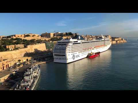 MSC Orchestra docked in Valetta Malta Glorious Sun View from Aft