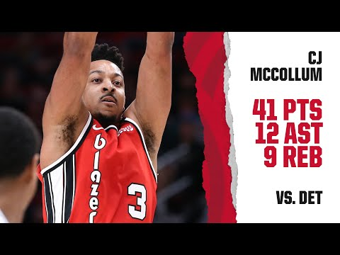 CJ McCollum (41 PTS, 12 AST, 9 REB) Highlights | Trail Blazers vs. Pistons
