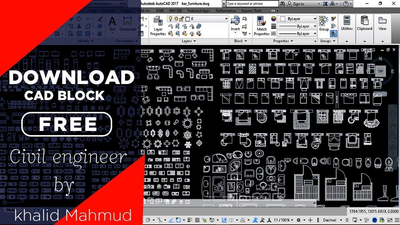 autocad 2d furniture blocks free download