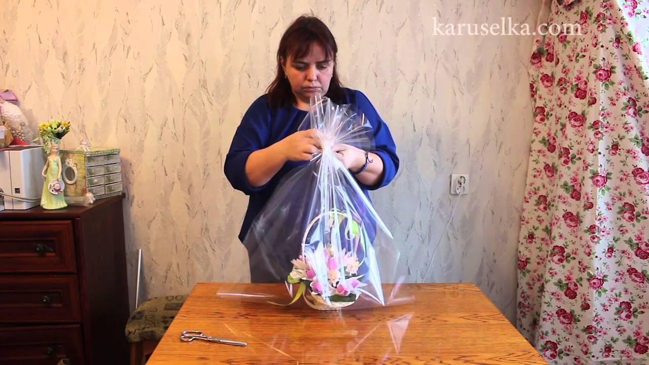 Букеты из конфет. buket_is_konfet. как упаковать корзинку.