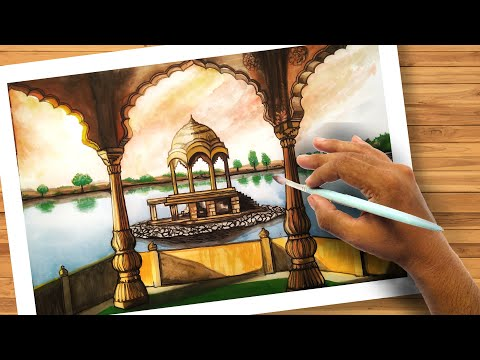 How To Draw A Scenery With Watercolors Easy Landscape Drawing Watercolor Painting Idea Easy Art Painting With Oil Paints