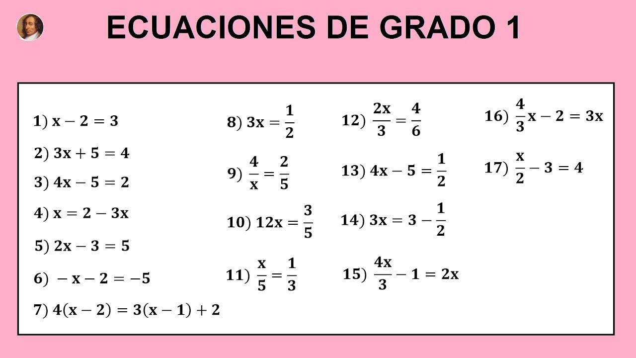Matemáticas Secundaria 1º Y 2º Eso Ecuaciones Primer Grado Con Fracciones Ecuaciones Grado 1 01 Youtube