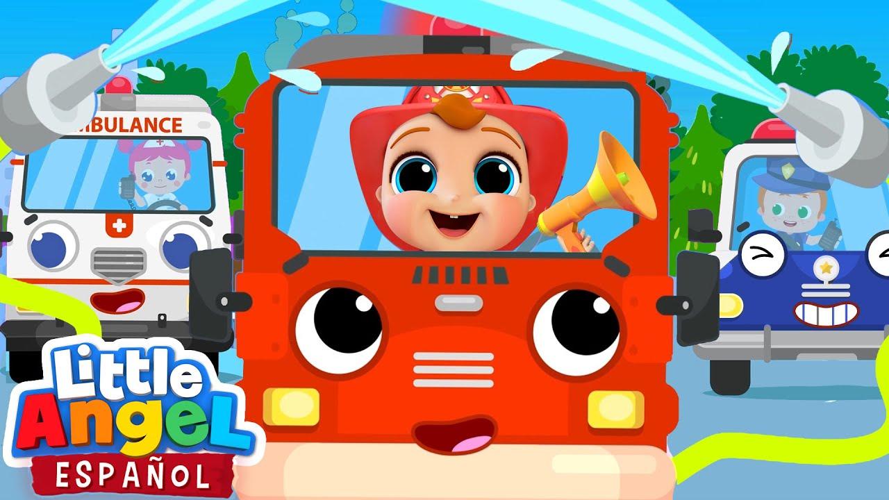 Carros de Policía bomberos y Ambulancia  🚔🚒🚑 | Canción Infantil | Little Angel en Español