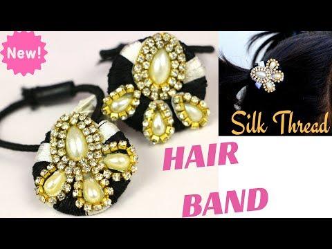DIY Silk Thread Rubber Hair Band || Hair Accessories   DIYCrafts #14