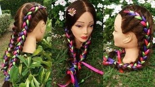 Trenzas Holandesas con Cintas 🌷Dutch braids 🌸Belleza sin Limites 🌟