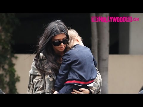 Kourtney Kardashian Wears A Camouflage Jacket While Running Errands With Mason & Penelope Disick