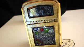 Vintage George Good Wind-up Jukebox Wooden Wood Music Box Stained Glass Look