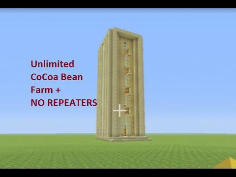 Minecraft Tutorial: CoCoa Bean Farm UNLIMITED + NO REPEATERS