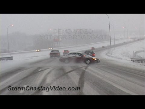 Compilation of Ridiculous Car Crash and Slip and Slide Winter Weather - Part 1
