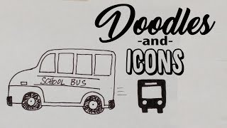 How Doodle and Icon | School bus | Drawing tutorial -   for sketchnotes or journaling bujo
