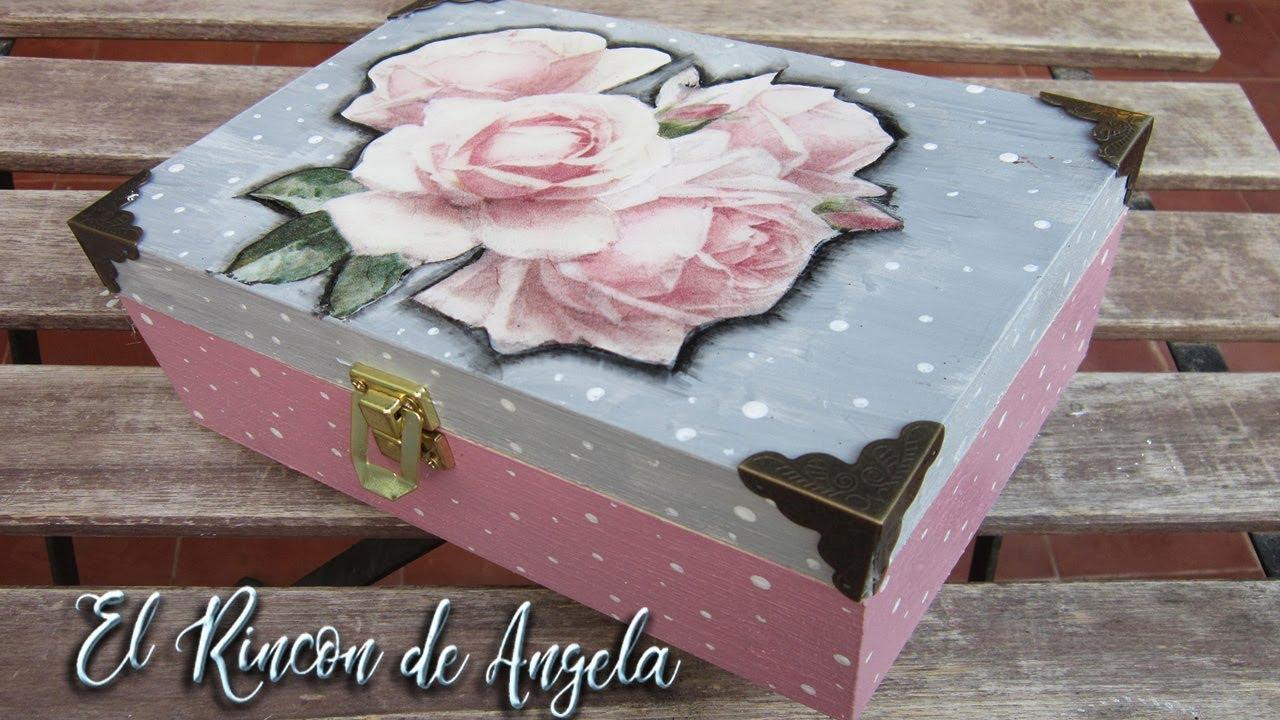 Caja de madera decorada con decoupage diy manualidades - Manualidades con cajas de madera ...