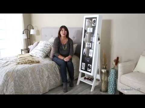 Belham Living Lighted Photo Cheval Jewelry Armoire  - White - Product Review Video