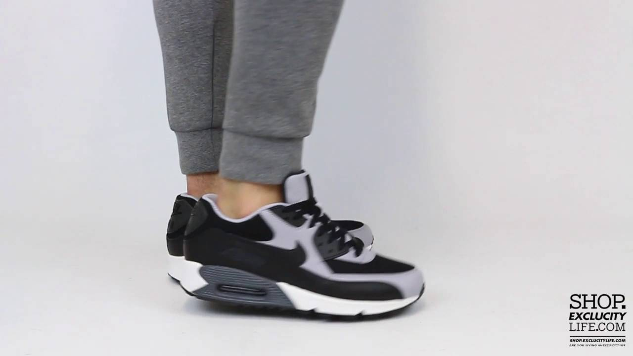 newest collection 03b2b 59a50 Nike Air Max 90 Essential Black Wolf Grey On feet Video at Exclucity