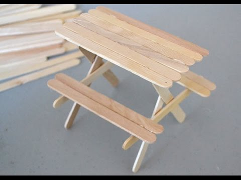 How To Make A Popsicle Stick Picnic Table Youtube
