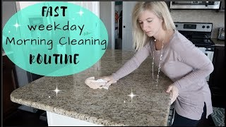 MY WEEKDAY MORNING CLEANING ROUTINE | 5 MINUTE SPEED CLEAN BEFORE WORK