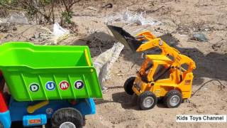 JCB Bulldozer and Dump Truck , Kids Video ! Enjoy