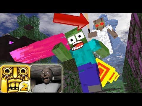 Monster School : Temple Run VS Granny Game Challenge Minecraft Animation