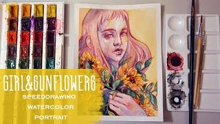 Girl&Sunflowers Ink&Watercolor Speed Drawing