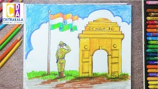 Republic Day Drawing with Oil Pastel step by step || 26 January Drawing