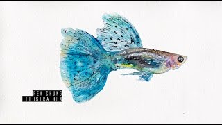 Guppy sped up watercolor painting