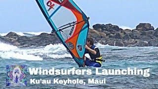 Windsurfers Launching from the Keyhole in Ku'au, Maui