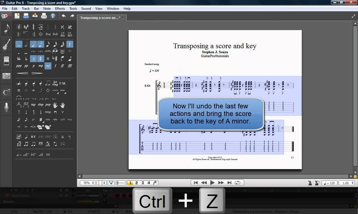 Guitar Pro 6 Tutorial Transposing A Score And Key Youtube