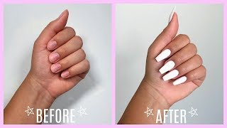 How I Do My Nails At Home! *no acrylic or damage*
