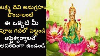 లక్ష్మి దేవి అనుగ్రహం పొందాలంటే ఇది మీ పూజ గదిలో పెట్టండి   How To Get Goddess Lakshmi Blessings?