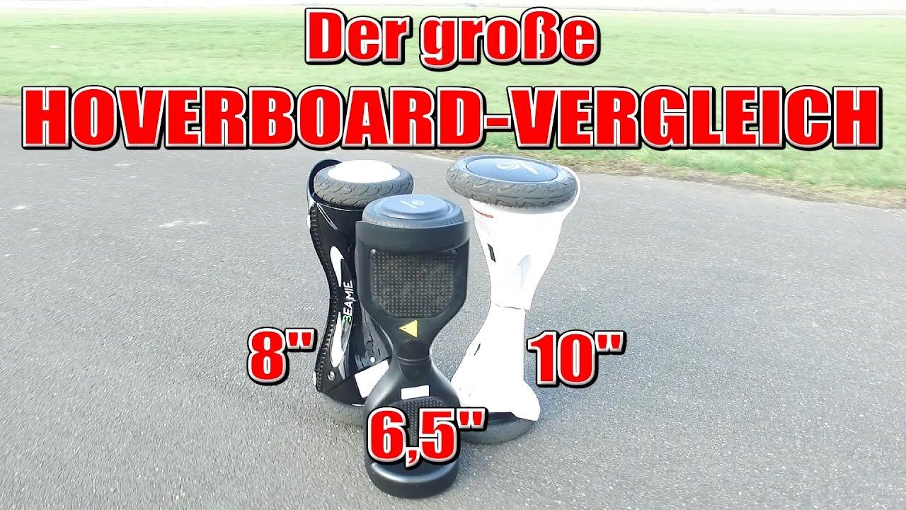 HOVERBOARD VERGLEICH! 6,5Zoll vs. 8Zoll vs. 10Zoll, Balance Board ...