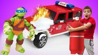Черепашки Ниндзя тушат пожар! Мультик с игрушками Трансформеры - Видео для детей