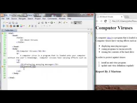 HTML Tutorial 3 of 7:  Make a Basic Webpage with Aptana Studio