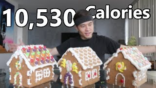 x3 Gingerbread House Challenge (10,500+ calories)...