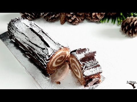 bûche-vanille-chocolat-|-vanilla-chocolate-swiss-roll-|-رولى-الفانيليا-والشوكولا