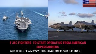 F 35C FIGHTER GETTING READY TO BE DEPLOYED FROM AMERICAN SUPERCARRIERS