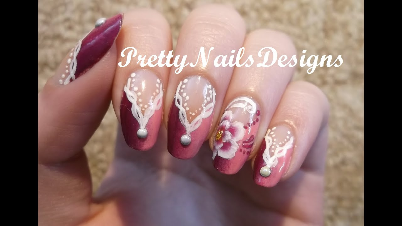 Gradient V shaped French Manicure in Candy Colours Nail Art - YouTube