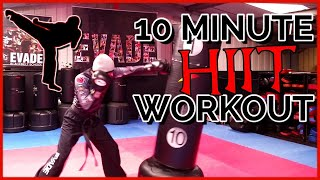 10 Minute HIIT Heavy Bag Workout Full Routine - 30-30-30 Workout Challenge 90 Second Rounds