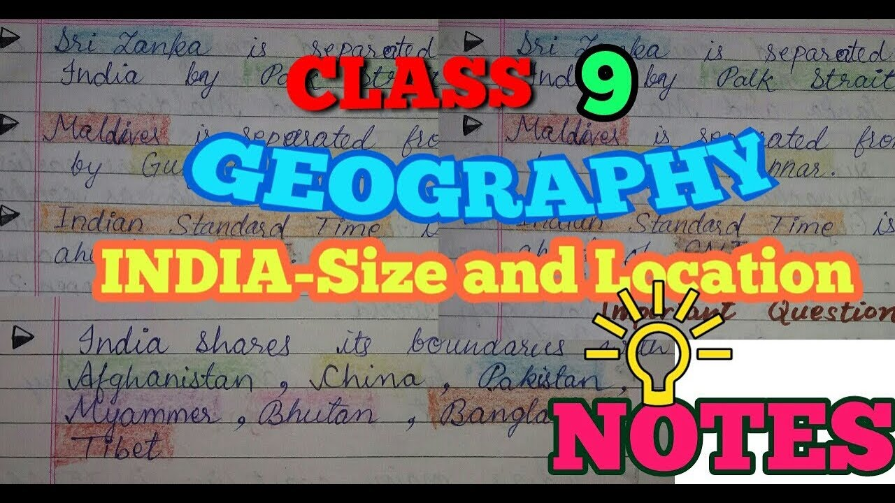 Class 9 Geography Chapter 1 India Size And Location Notes