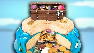 How to Make a Buried Treasure Cake with a Kit Kat Chest from Cookies Cupcakes and Cardio